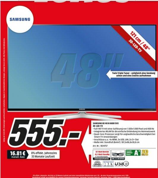 [Lokal in den 18 Mediamärkten Berlin/Brandenburg] Samsung UE48H6600 für nur 555 € (3D-LED-TV, Full-HD, DVB-T/-C/-S2, 400 Hz)