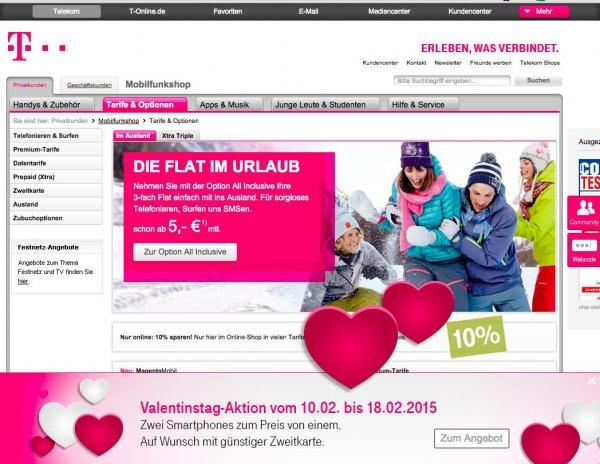 Telekom - Valentinstag - 2 Smartphones zum Preis von einem