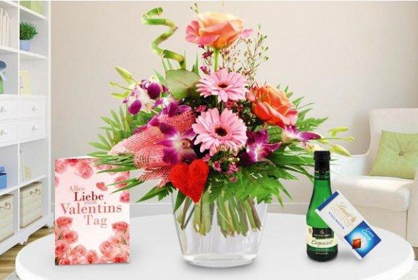 Valentinsstrauß in 3 Farben mit Lindt Schokolade, Piccolo Perlwein und Grußkarte für nur 17,10 € (inkl Versand) @Groupon
