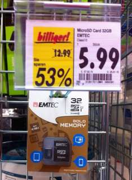 [KAUFLAND / BUNDESWEIT?] EMTEC Gold Memory 32GB Class 10 MicroSDHC inkl. Adapter für 5,99€