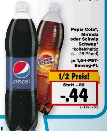[Bundesweit] Kaufland Pepsi / Mirinda und Schwipp Schwapp ab 19.02.2015 für 44 Cent. Bestpreis