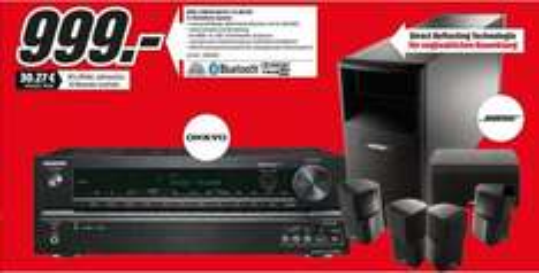 [Lokal Mediamarkt Berlin] Onkyo TX-NR535 Schwarz + Bose Acoustimass 10 Series IV schwarz für zusammen 999,-€