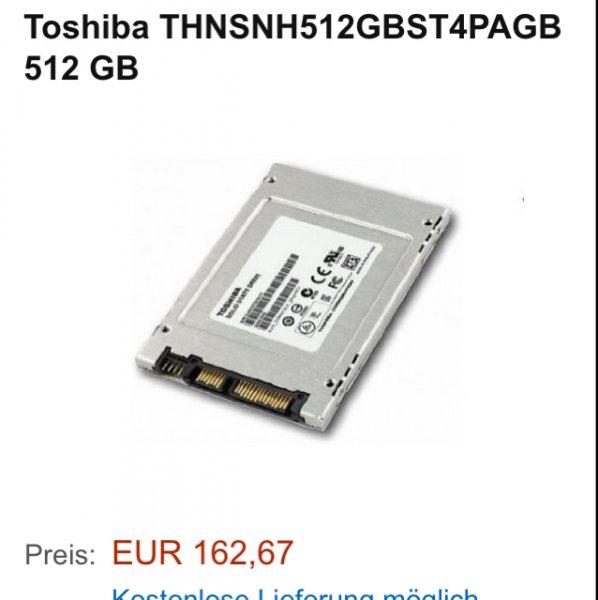 Toshiba SSD 512 GB Amazon  (edit...) --> löschen