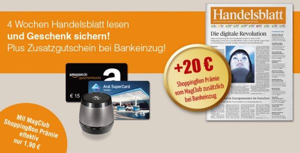 4 Wochen Handelsblatt Print Dank 35€ Amazon-Gutschein und 5,90€ Cashback mit effektiv 4€ Gewinn lesen