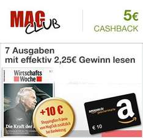 [Qipu / Magclub]  7 Ausgaben WirtschaftsWoche Print mit effektiv 2,25€ Gewinn lesen Dank 20€ Amazon-Gutschein und 5€ Cashback
