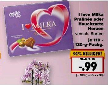 Kaufland passend zum Valentinstag :I love Milka Pralinen 59cent anstatt 99cent ( 40 cent Cashback)