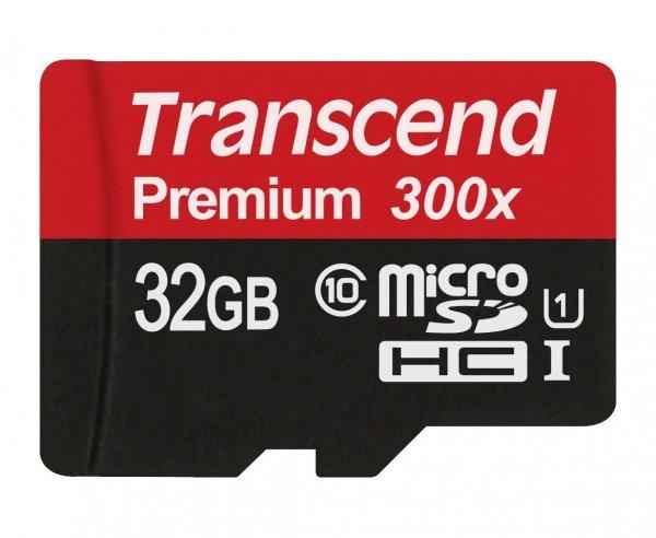 [Prime] Transcend Premium Class 10 microSDHC 32GB Speicherkarte mit SD-Adapter (UHS-I, 45Mbps Lesegeschwindigkeit) für 12,49€
