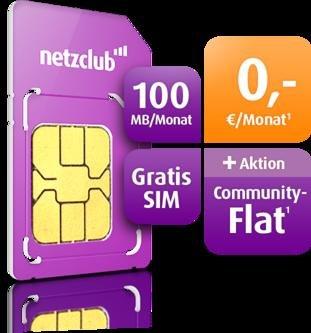 Netzclub jetzt mit Communityflat und 100 MB pro Monat