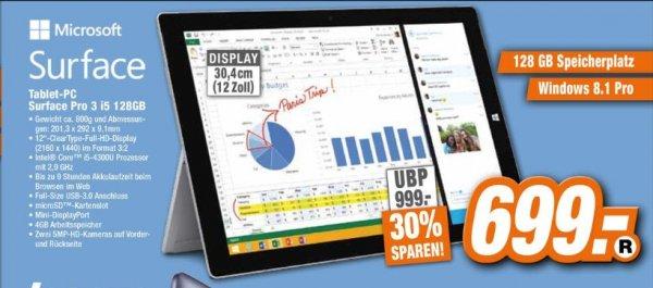 [Expert-Technikmarkt/Offline] Microsoft Surface Pro 3 /128GB/ i5  für 699,-€