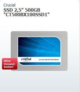"[ZackZack] 500GB Crucial BX100 2.5"" (6.4cm) SATA 6Gb/s MLC (CT500BX100SSD1) für 169,90€ VSK Frei"