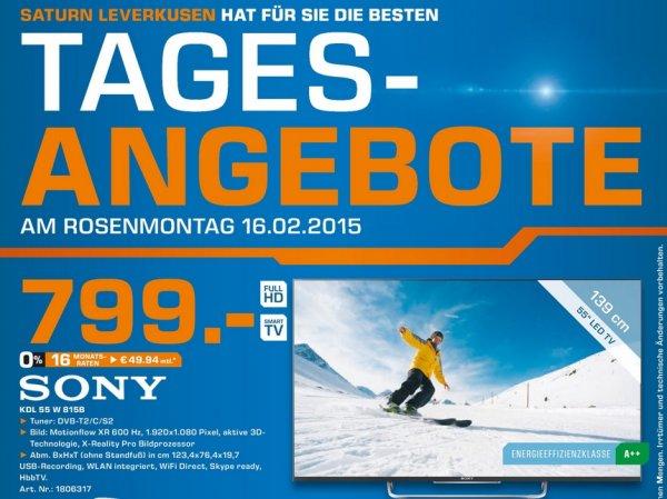 Sony KDL55W815B (600Hz,3D,LED,Smart TV) für 799€ LOKAL@Saturn Leverkusen(TAGESANGEBOT)