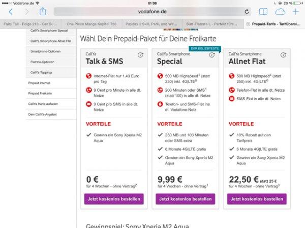Vodafone prepaid 9.99€ monatlich kündbar