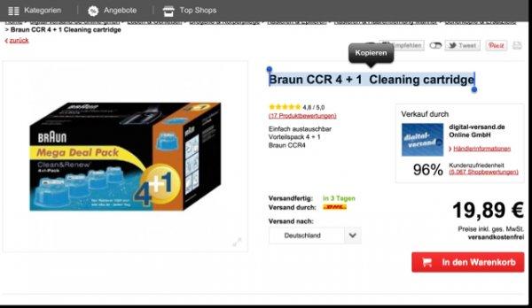 Braun CCR 4 + 1  Reinigungs Kartuschen 5er Pack für 16,89,-  Versandkostenfrei
