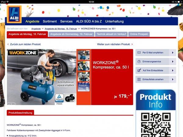 [Aldi Süd] Workzone 50l 2Zylinder Kompressor