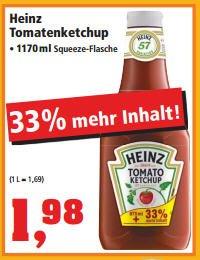 [Thomas Philipps] Heinz Tomato Ketchup / +33% Inhalt (1170ml) für 1,98€ ab 16.02.2015