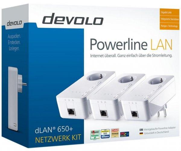 Starter Kit Devolo dLAN 650+ Powerline 600 Mbit/s Network Kit mit 3 Adaptern für 79,90€