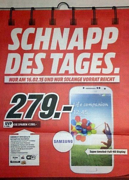 Samsung Galaxy S4 GT-9515 Mediamarkt Bamberg-Hallstadt lokal offline 279 EUR