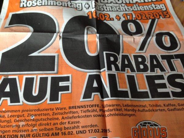 [Lippstadt] 20% Rabatt auf alles, Globus Baumarkt Lippstadt 16.02. und 17.02.2015