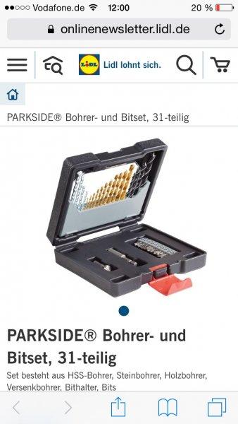 (Lidl offline bundesweit, ab 16.2.) PARKSIDE® Bohrer- und Bitset, 31-teilig für 6,99€