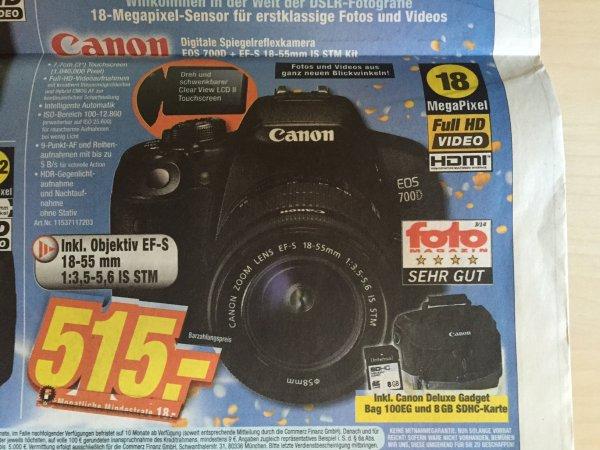 [Expert] (lokal) Canon EOS 700D + EF-S 18-55mm + Gadget Bag 100EG + 8 GB SDHC Karte 515€