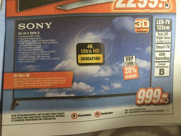 [Expert] Sony KD-49X8505B für 999€ – 49″ 4K-Fernseher mit 3D, Smart TV, Skype Kamera und Dual-Triple-Tuner