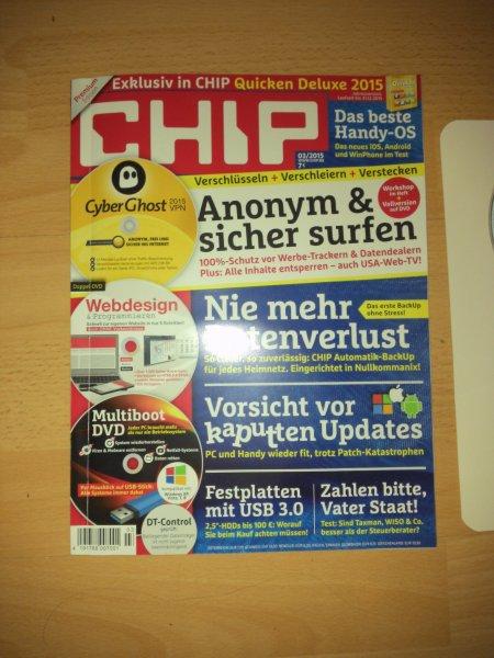 VPN 12 Monate CyberGhost in CHIP Premium Edition für 7€. Sowie Quicken Deluxe 2015