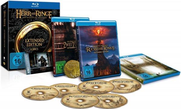 Amazon Blitzangebot bis 21 Uhr: Der Herr der Ringe - Die Spielfilm Trilogie (Extended Edition) inkl. Kinogutschein für Hobbit 3 und Sammlermünze (exklusiv bei Amazon.de) [Blu-ray] [Limited Edition] für 29,97€