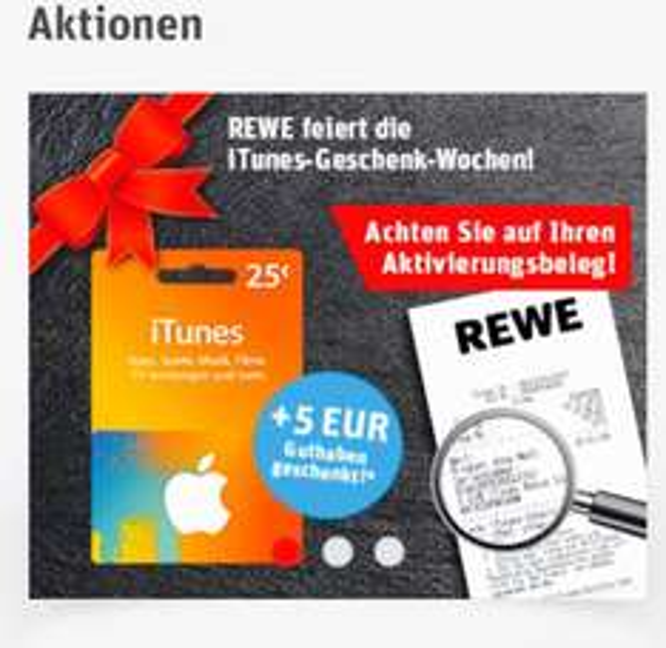[REWE]  iTunes 25€ + 5€ Bonus
