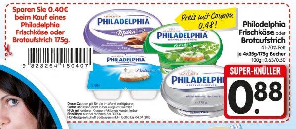[ Edeka Bayern] Philadelphia Frischkäse oder Brotaufstrich verschiedene Sorten mit Coupon 0,48€