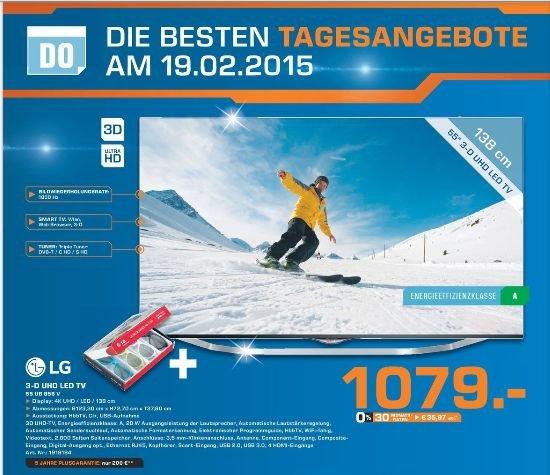 [Lokal Saturn Bochum,Witten&Hattingen] LG 55UB856V 139 cm (55 Zoll) Cinema 3D LED-Backlight-Fernseher (Ultra HD, 1000Hz UCI, DVB-T/C/S, CI+, Smart TV, HbbTV, 2.0 Soundsystem, 3D Dual Play)für 1079,-€...Nur am 19.02!