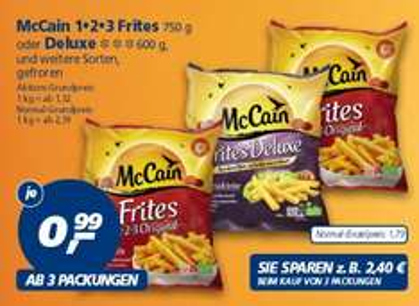 [Real] McCain 123 Pommes Frites oder Deluxe und weitere Sorten je 0,99€ ab 3 Packungen ab 23.02