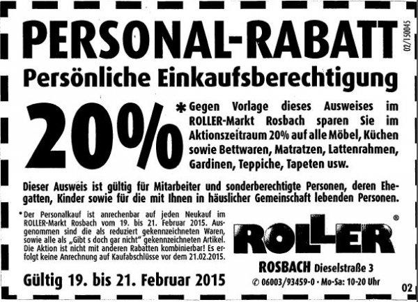 [Lokal]  20% auf alles ROLLER Rosbach bei Frankfurt