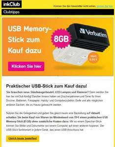 *InkClub* USB Memory-Stick zum Kauf dazu, MBW 19€ zzgl. VK