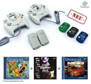 2 Sega Dreamcast Controller + 2 Vibration + 3 VMU + 3 Spiele (NEU & OVP)