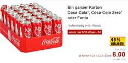 [Kaufland Neckarsulm] 24x 0,33l-Dose Coca-Cola (Zero), Fanta oder Mezzo-Mix