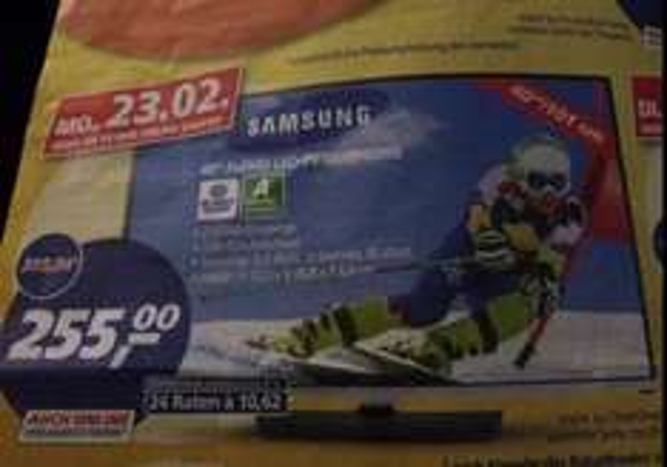 Real] Samsung UE40H5000 101 cm (40 Zoll) LED-Backlight-Fernseher (Full HD, 100Hz CMR, DVB-T/C, CI+)  (Geizhals.de: 340€)