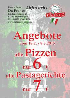 In Memmingen (lokal) Pizza & Pasta zum Sonderpreis