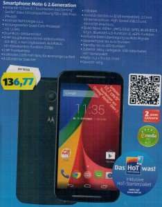 [Hofer Angebot] Motorola Moto G 2. Generation inkl. HoT-Starterpaket für 136,77 € ab 26.02