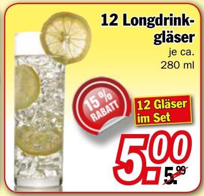 [ZIMMERMANN] 12 Longdrink-Gläser 280ml für 0,42€/Glas (Ebay: 1,74€)