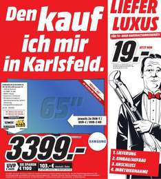 "[lokal Karlsfeld] Samsung UE65HU8590VXZG 65"" Zoll UHD 4K LED TV für 3399€"