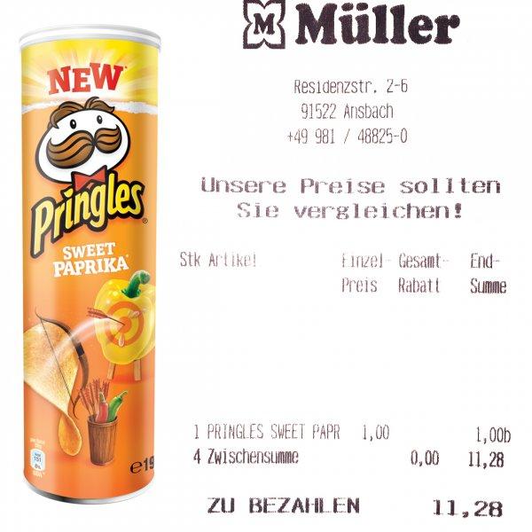 Pringles Sweet Paprika für 1€ (0,97€ mit Rabatt) im Müller