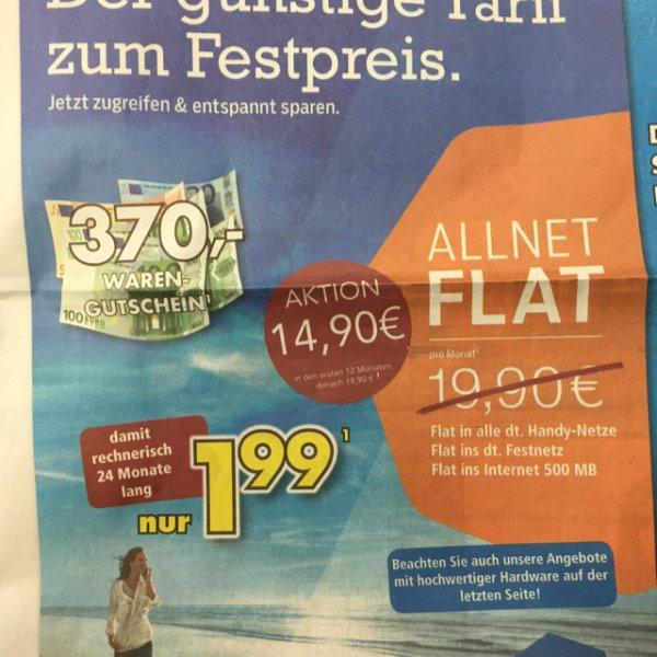 [Lokal] BRUMBERG Menden/Kamen BLAU ALLNET FLAT plus 500 MB Internet Flat (E-Netz) für rechnerisch 1,99 mtl.
