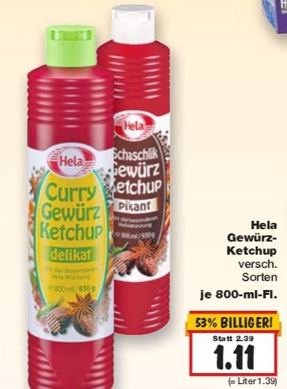 [Lokal NDS/SH/HH/HB] Kaufland Hela Gewürzketchup 800 ml Flasche in verschiedenen Sorten 1,11 €