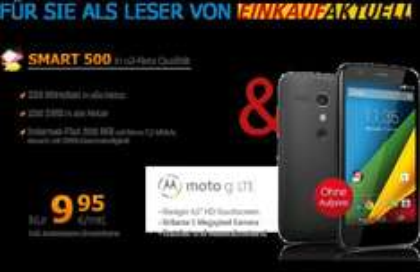 DeutschlandSIM Smart 500  O2 incl. moto g DualSIM für 9,95€ mtl + einmalig 19,95€ =258,75€