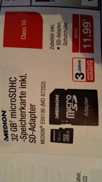 [Aldi Nord] Medion 32GB microSDHC inkl. Adapter
