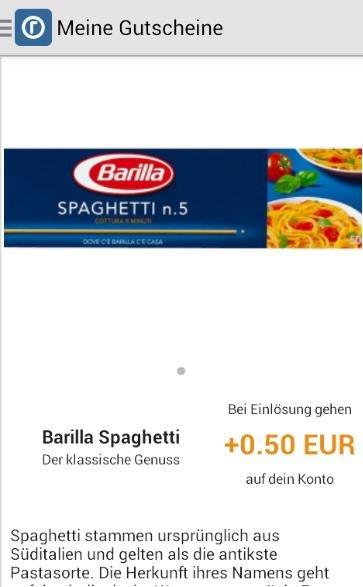 [Reebate] 0,50 EUR auf Barilla Spaghetti