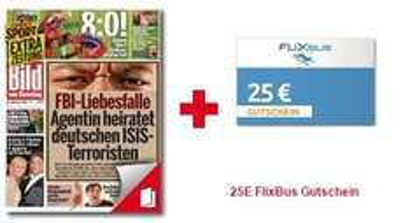 25€ FlixBus Gutschein + 13 Ausgaben der Bild am Sonntag
