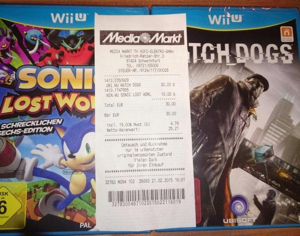 (Lokal Media Markt Schweinfurt)  Watch Dogs [ Wii U ] für 20 Euro und Sonic Lost World [ Wii U ] für 10 Euro
