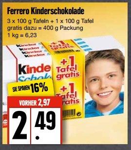 Edeka Nord 4 Kinderschokolade für 2,49€ macht einen Stückpreis von 62 Cent ab 23.02.2015