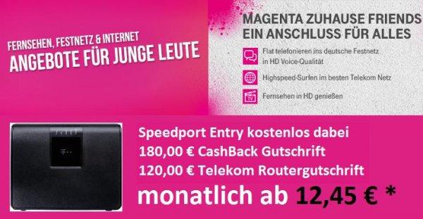 """Telekom MagentaZuhause ( Entertain ) S Friends für """"Junge Leute"""" ab 12,45 € mtl. eff."""